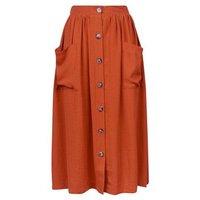 Rust Button Through Pocket Midi Skirt New Look