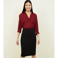Black Textured Pencil Midi Skirt New Look