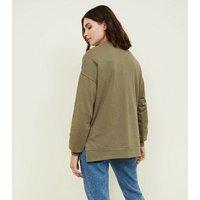 Khaki Crew Neck Oversized Sweatshirt New Look