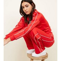 Red Satin Piped Side Wide Leg Joggers New Look