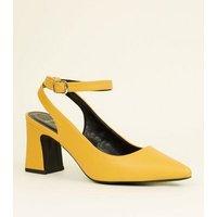 Wide Fit Mustard Flare Heel Slingbacks New Look