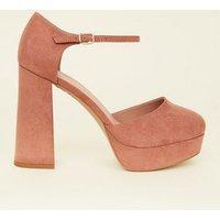 Wide Fit Pink Suedette Flared Platform Heels New Look