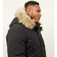 Mens Plus Size Black Faux Fur Trim Hooded Parka New Look