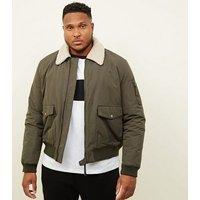Plus Size Khaki Borg Collar Aviator Jacket New Look