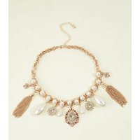 Gold Faux Pearl and Crystal Vintage-Look Charm Necklace New Look