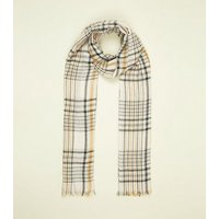 Off White Check Longline Fringe Trim Scarf New Look