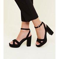 Wide Fit Black Suedette Cross Strap Platform Heels New Look