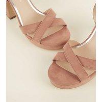 Wide Fit Pink Suedette Cross Strap Platform Heels New Look