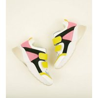 Pink Limited Edition Colour Block Strap Chunky Trainers New Look