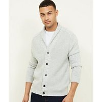 Mens Pale Grey Shawl Neck Button-Up Cardigan New Look