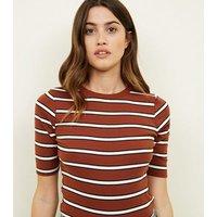 Rust Stripe 1/2 Sleeve T-Shirt New Look