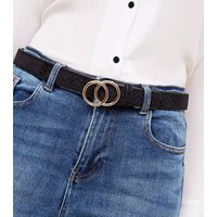 Black Quilted Velvet Circle Trim Belt New Look