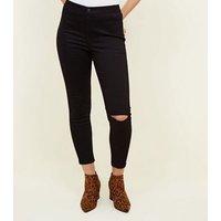 Petite Black High Waist Ripped Knee Skinny Jeans New Look