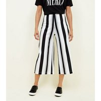White Stripe Scuba Crop Trousers New Look