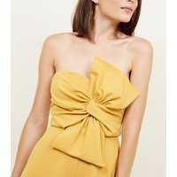 Yellow Bow Front Strapless Playsuit New Look