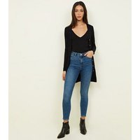 Black Longline Slub Button Cardigan New Look