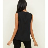 Black Lace Front Frill Sleeve Top New Look