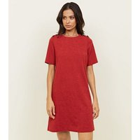 Red Cross Hatch Button Shoulder Tunic Dress New Look