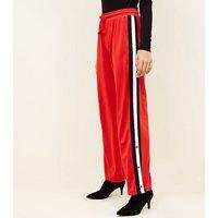 Red Popper Side Stripe Wide Leg Trousers New Look