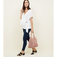 Maternity Off White Wrap Buckle Top New Look
