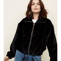 Black Zip Front Faux Fur Jacket New Look