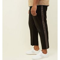 Mens-Plus-Size-Black-Pull-On-Side-Stripe-Trousers-New-Look
