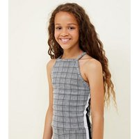 Grey Check Side Stripe Halterneck Cami New Look