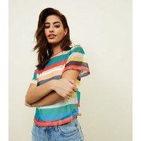 Carpe Diem Rainbow Stripe Fishnet Top New Look