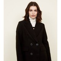 Black Double Breasted Longline Coat New Look