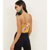 Yellow Floral Slinky Wrap Front Bodysuit New Look