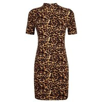 Pink-Vanilla-Brown-Leopard-Print-Bodycon-Dress-New-Look