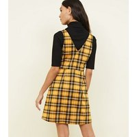 Yellow Check Button Through Pinafore Dress New Look