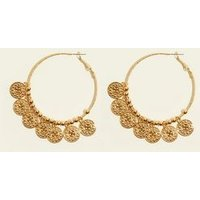 Gold Coin Hoop Earrings New Look