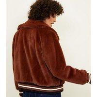 Rust Faux Fur Bomber Jacket New Look