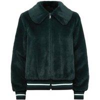 Dark Green Faux Fur Bomber Jacket New Look