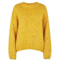 Mustard Nep Knit Slouchy Jumper New Look