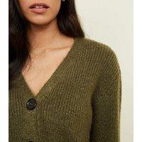 khaki-rib-knit-button-through-cardigan-new-look