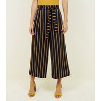 Blue and Yellow Stripe Tie Waist Culottes New Look