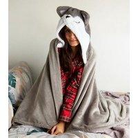 'Dark Grey Fluffy Husky Slanket New Look