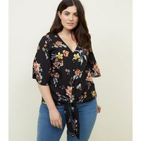 curves-black-floral-button-tie-front-top-new-look