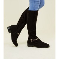 Girls Black Suedette Chain Strap Boots New Look