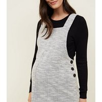 Maternity Grey Jacquard Side Button Pinafore Dress New Look