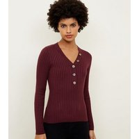 burgundy-ribbed-button-front-jumper-new-look