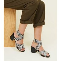 Black Premium Leather Faux Snake Strappy Sandals New Look