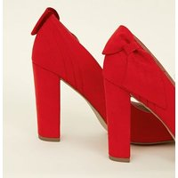 Red Suedette Bow Back Block Heel Courts New Look