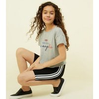 Girls Grey Marl Los Angeles Slogan T-Shirt New Look