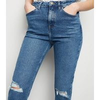 Blue Ripped Knee Tori Mom Jeans New Look