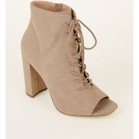 Brown Suedette Lace Up Square Toe Block Heels New Look