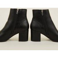Black  Block Heel Ankle Boots New Look