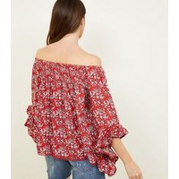 apricot-red-floral-bardot-smock-top-new-look